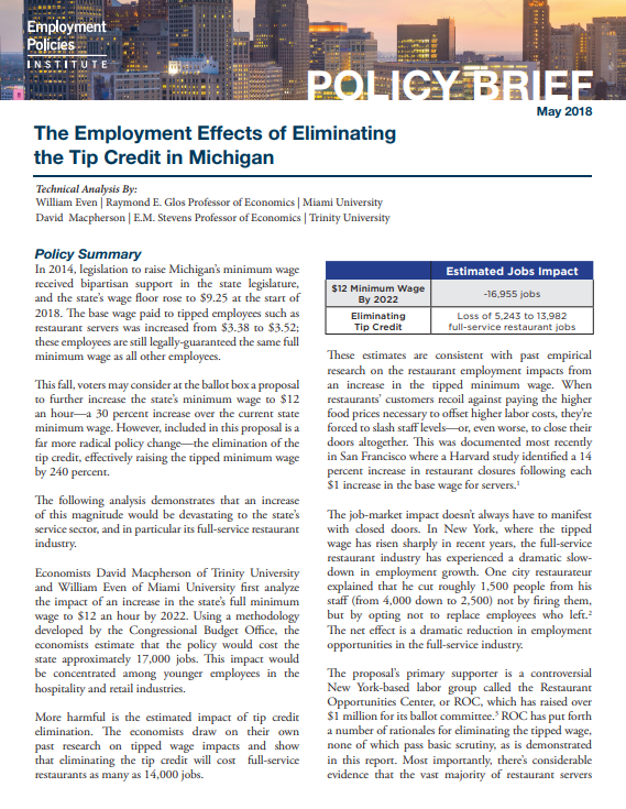 The Employment Effects Of Eliminating The Tip Credit In